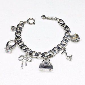 Juicy Couture Silver Chain Charm Bracelet Heart +